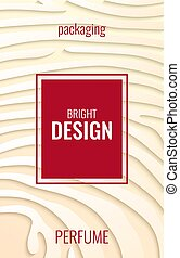 light vertical abstract background for perfume. Paper strips on beige backdrop