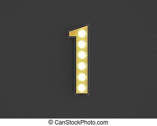 light vintage number one - 3d illustration of golden one...