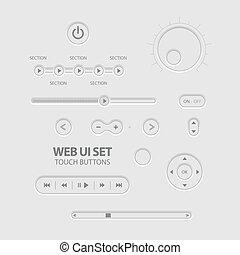 Light Web UI Elements Design Gray. Elements: Buttons,...