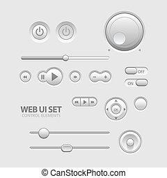 Light Web UI Elements Design Gray. Elements: Buttons, Switchers, Slider eps 10