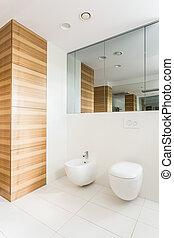 Light white bathroom with wainscot - Light white bathroom...