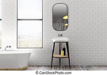 Light white brick bathroom