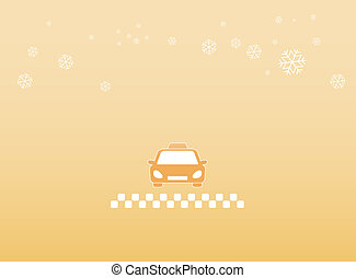 winter background with taxi car
