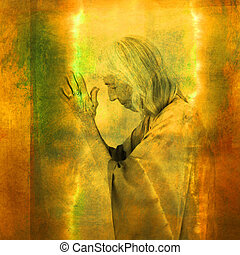 Wise woman in illuninated prayer. Photo based illustration.