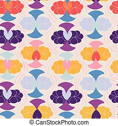 Light with geometric abstract floral shapes seamless pattern background design.