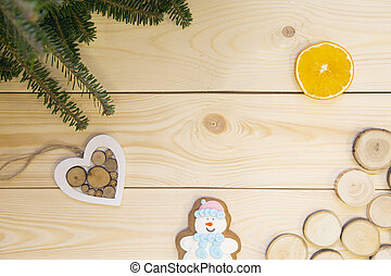 Light wooden Christmas or New Year background