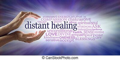 Light worker sending high frequency distant healing word cloud concept