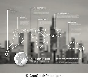 Light World thin line map infographic template with pointer...