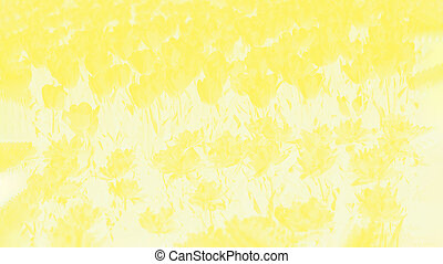 Light yellow and white floral background with tulips flowers pattern, panorama