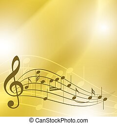 light yellow music background with notes - vector
