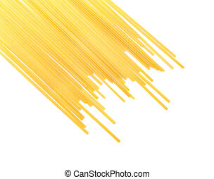 Light yellow noodles isolated on a white background. Dry spaghetti with a clipping path. Traditional mediterranean cuisine.