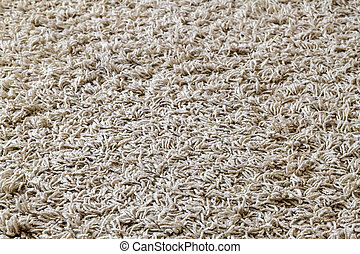 Light yellow shaggy carpet sample, a closeup shot of rug background texture. Knitted fabric