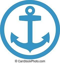 Lightblue Anchor in circle