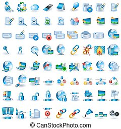 Huge collection of light blue network icons.