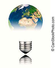 lightbulb, áfrica, -, forma, europa, mundo