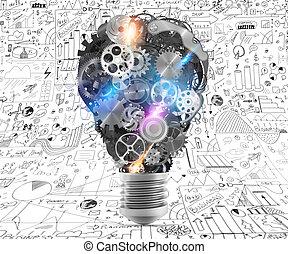 lightbulb , απόδοση , μηχανική συμπεριφορά , gears., 3d