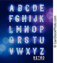 lightbulb , γράμματα , retro , θέατρο