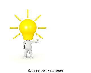 lightbulb , κεφάλι , σωστό , στίξη , χαρακτήρας , 3d