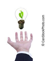 lightbulb , μέσα , χέρι