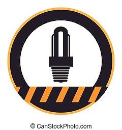 lightbulb, シルエット, 色, ライン, 警告, 円