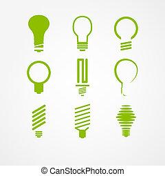 lightbulb, セット, アイコン