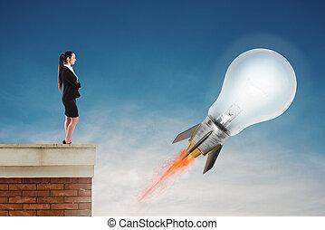 lightbulb, ハエ, 概念, ロケット, 考え, 速い, fast., 準備ができた, 新しい, 極度