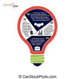 lightbulb, ビジネス, 現代, デザイン, テンプレート, infographics, あなたの
