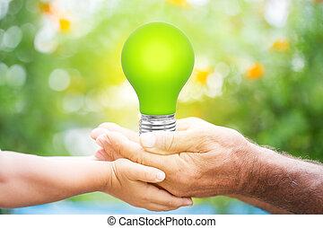 lightbulb, 中に, 手