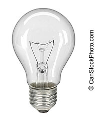 lightbulb, 切り抜き, -, 隔離された, 道, 白