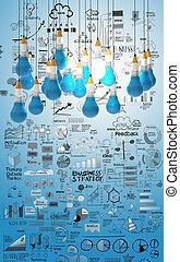 lightbulb, 商业, 创造性, 设计, 3d, 铅笔, 概念