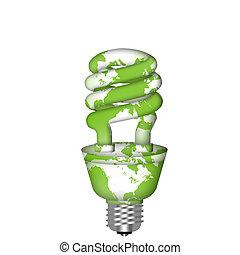 lightbulb, 地図, セービング, eco, エネルギー, 世界