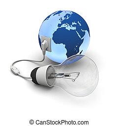 lightbulb, 地球, 接続される