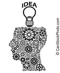 lightbulb, 头, 齿轮, 人类, 想法