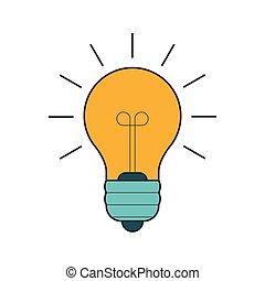 lightbulb, 平らなライン, アイコン