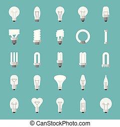 lightbulb, 平ら, 別, セット, ベクトル, デザイン, アイコン