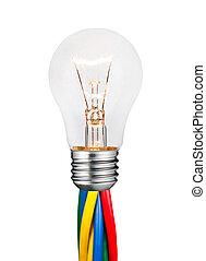 lightbulb, 有色人種, 付けられる, 隔離された, 白熱, 白, ケーブル