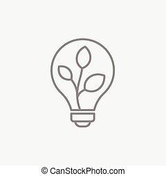 lightbulb, 植物, 線, 中, icon.