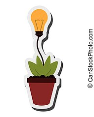 lightbulb, 植物, 考え, アイコン