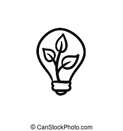 lightbulb, 植物, icon., 中, スケッチ