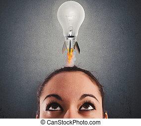 lightbulb, 概念, ロケット, 考え, 速い, fly., 準備ができた, 新しい, 極度