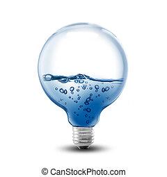 lightbulb, 水, 中