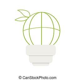 lightbulb, 網, アイコン, 世界