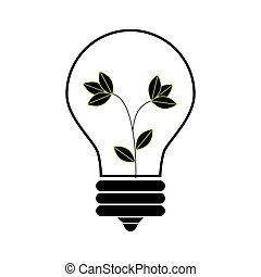 lightbulb, 色, 植物, シルエット, 中