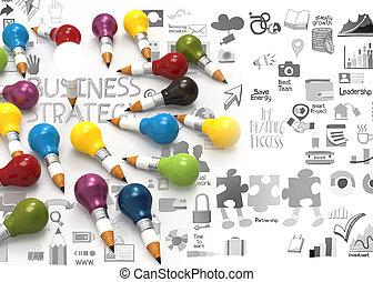 lightbulb, 鉛筆, 概念, ビジネス, 創造的, デザイン, 3d
