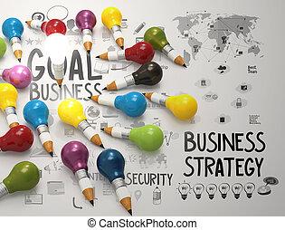 lightbulb, 铅笔, 概念, 商业, 创造性, 设计, 3d