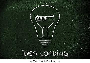 lightbulb, 面白い, バー, 中, 進歩, 革新, 新しい, ide