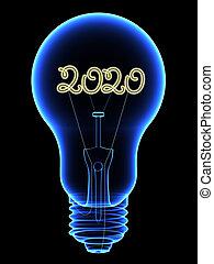 lightbulb, 2020, fond, chiffres, rayon x, isolé, intérieur, étincelant, noir