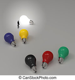 lightbulb, 3, idé, diagram, som, framgång, begrepp
