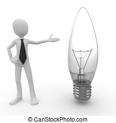 lightbulb, 3, man