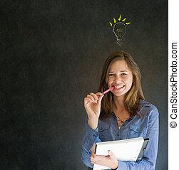 lightbulb, affari donna, pensare, idea, luminoso